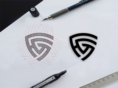 HG monogram logo concept branding illustration shiel symbol monogram elegant icon brand initials lettering design awesome logo graphic design