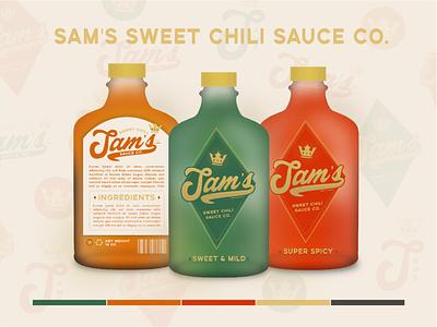 Sam's Sweet Chili Exploration typography logo icon design branding