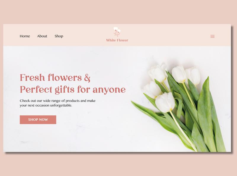 White Flower Website Home page website design uidesigner flowershop branding minimal uidesign ui web