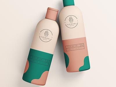 NATURVERA Skincare mockup beautybrand beauty natural aloe vera skincare logo illustrator minimal branding
