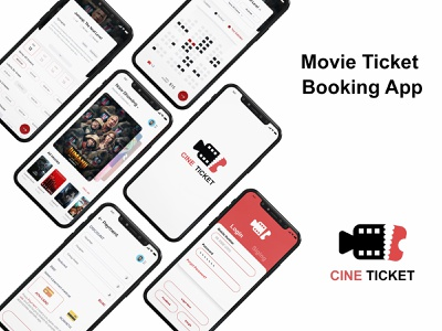 Cine Ticket - Mobile App Design cinema app movie app app ux ui vector design mobile app development mobile app mobile app design mobile ui