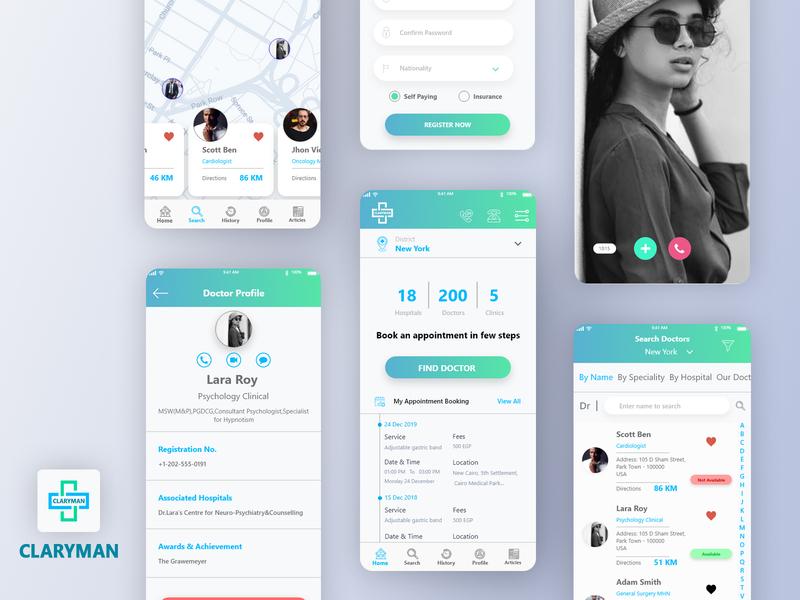 Claryman Doctor Mobile App ux mobile ui mobile app development dribbble app ui design mobile app mobile app design doctor doctor mobile app doctor app