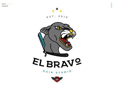 El bravo vector logo illustration oldschool design hairstyle brand identity barber panther branding samudiaz