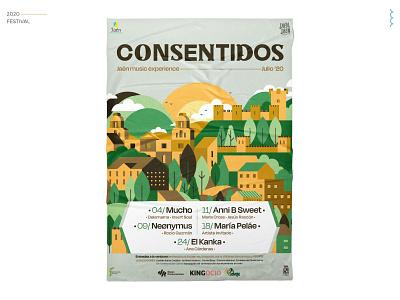 Consentidos - Festival Poster vector typography branding illustration samudiaz festival logo festival poster festival