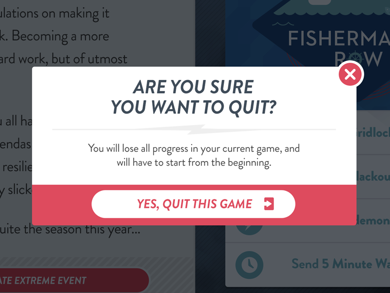 Exit Modal (For an App) modal design ui intuitive company games icons