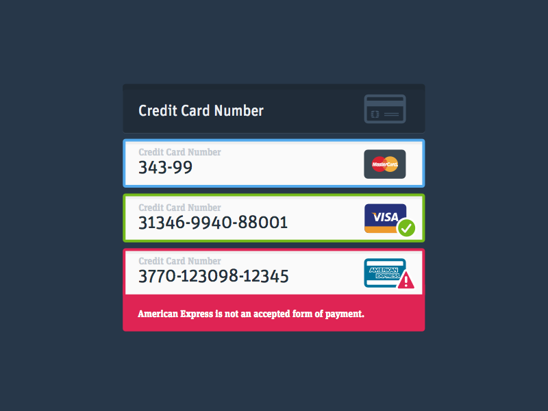 Inline Credit Card Detection & Validation design intuitive company input fields forms credit cards ui errors iconography