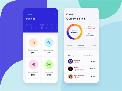 Budget And Current Spend Screen Design user experience ux fin-tech mobile design transactions page mobile design consult screen consult screen category screen make a payment screen bank mobile application design spend to goals spend to goals budget screen current spend screen current spend screen bank app design