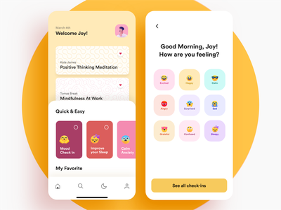 Meditation App minimal iphonex 2020 app design clean yoga app check mood calm anxiety calm anxiety mentalhealth selfcare app care app iphonex meditate meditation mobile design minimal meditation app meditation app