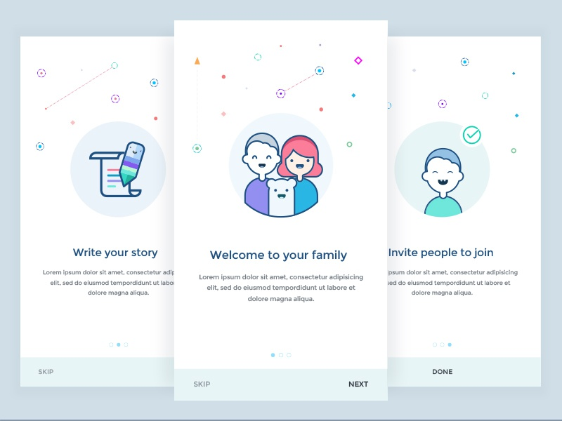 Onboarding Screen follow onboarding illustration app broadcast illustration intro ios onboarding periscope schedule family
