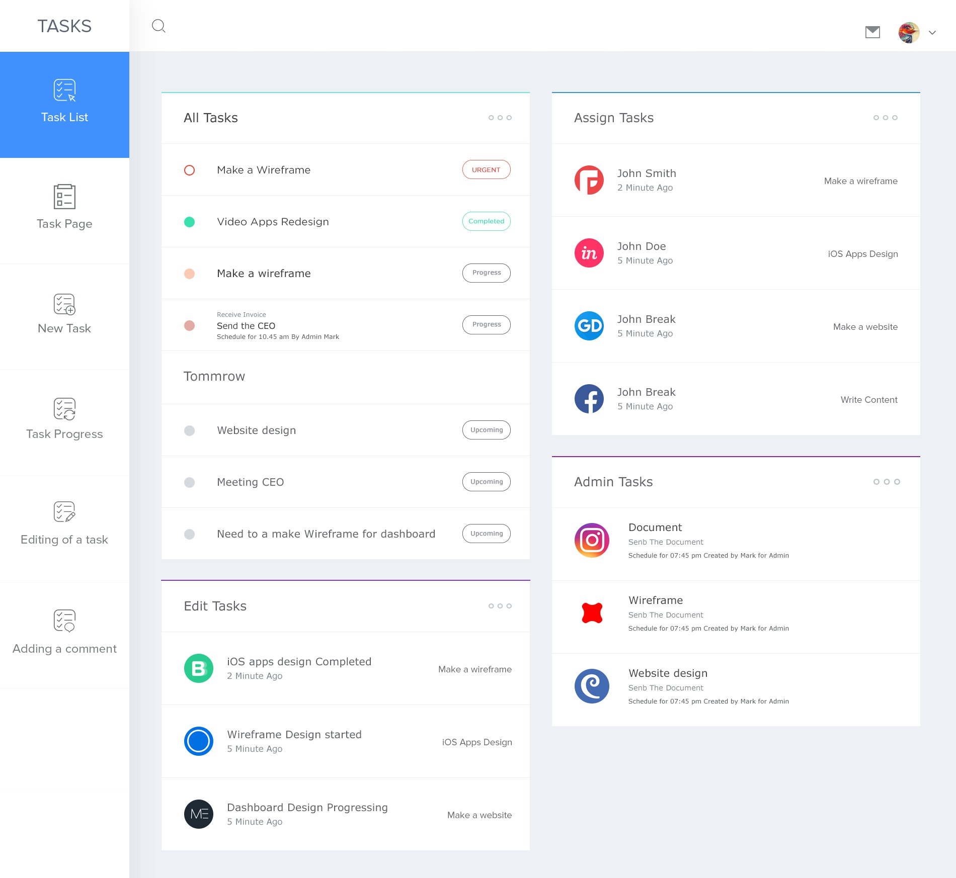 dashboard page design