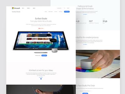Microsoft Surface Studio Landing Page Design website web simple minimal clean studio surface microsoft