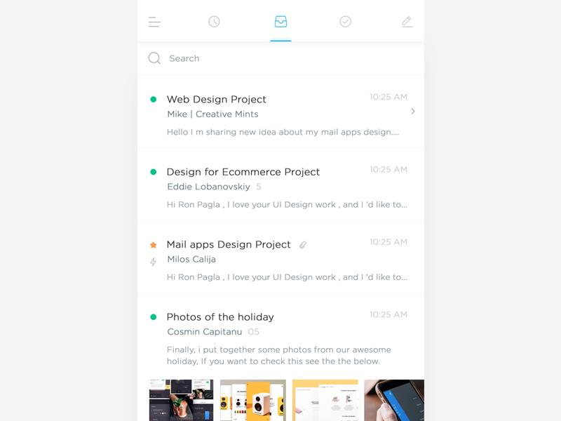 iOS Mail Apps  write inbox recent white simple minimal clean app mail ios