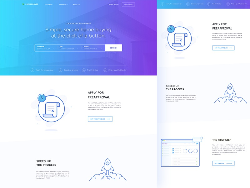 Home Loan Landing Page Concept 04 simple secure product landing home feature clean buy