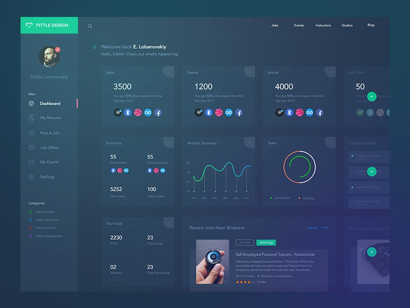 Fitness Dashboard Exploration Dark Concept