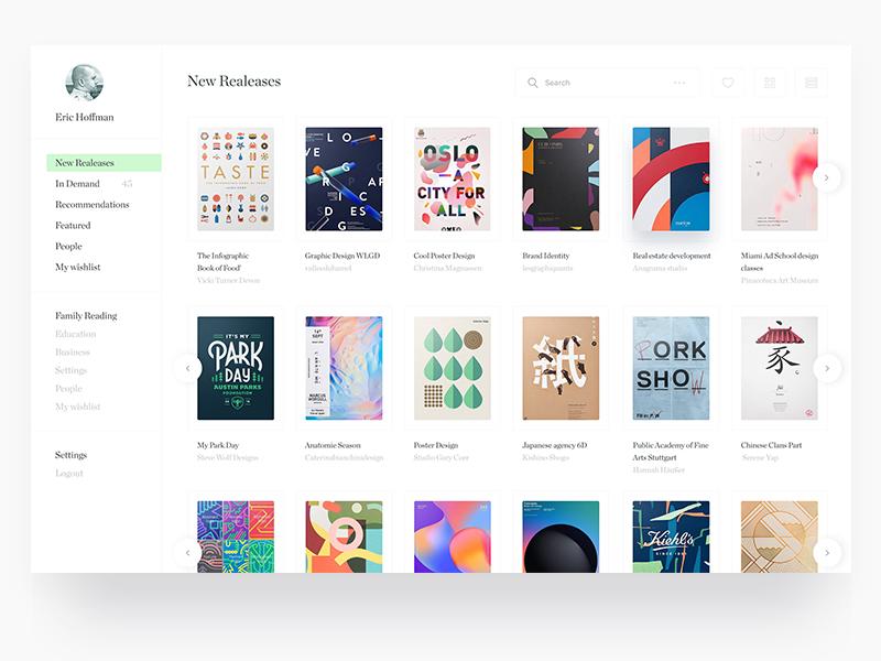 Book UI Design Exploration interface user ui social gui flat e-books ebooks need apps application app