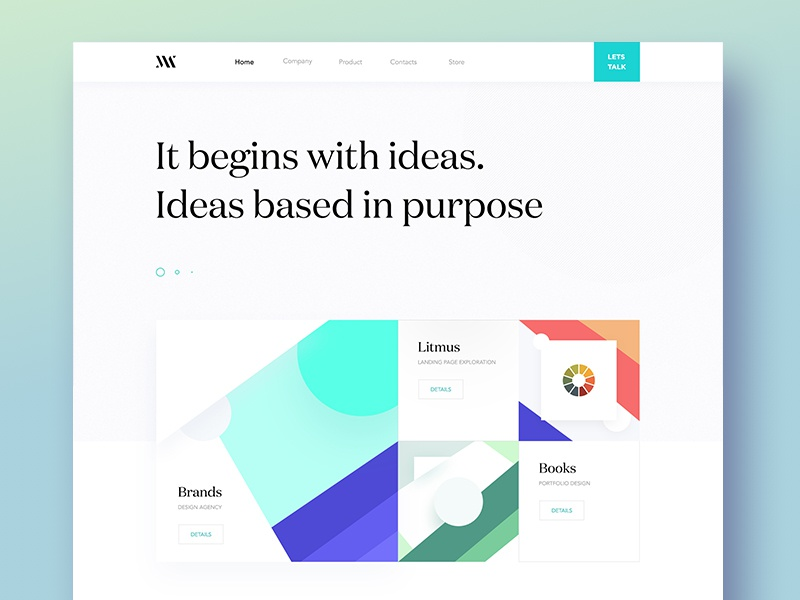 Agency landing page design exploration