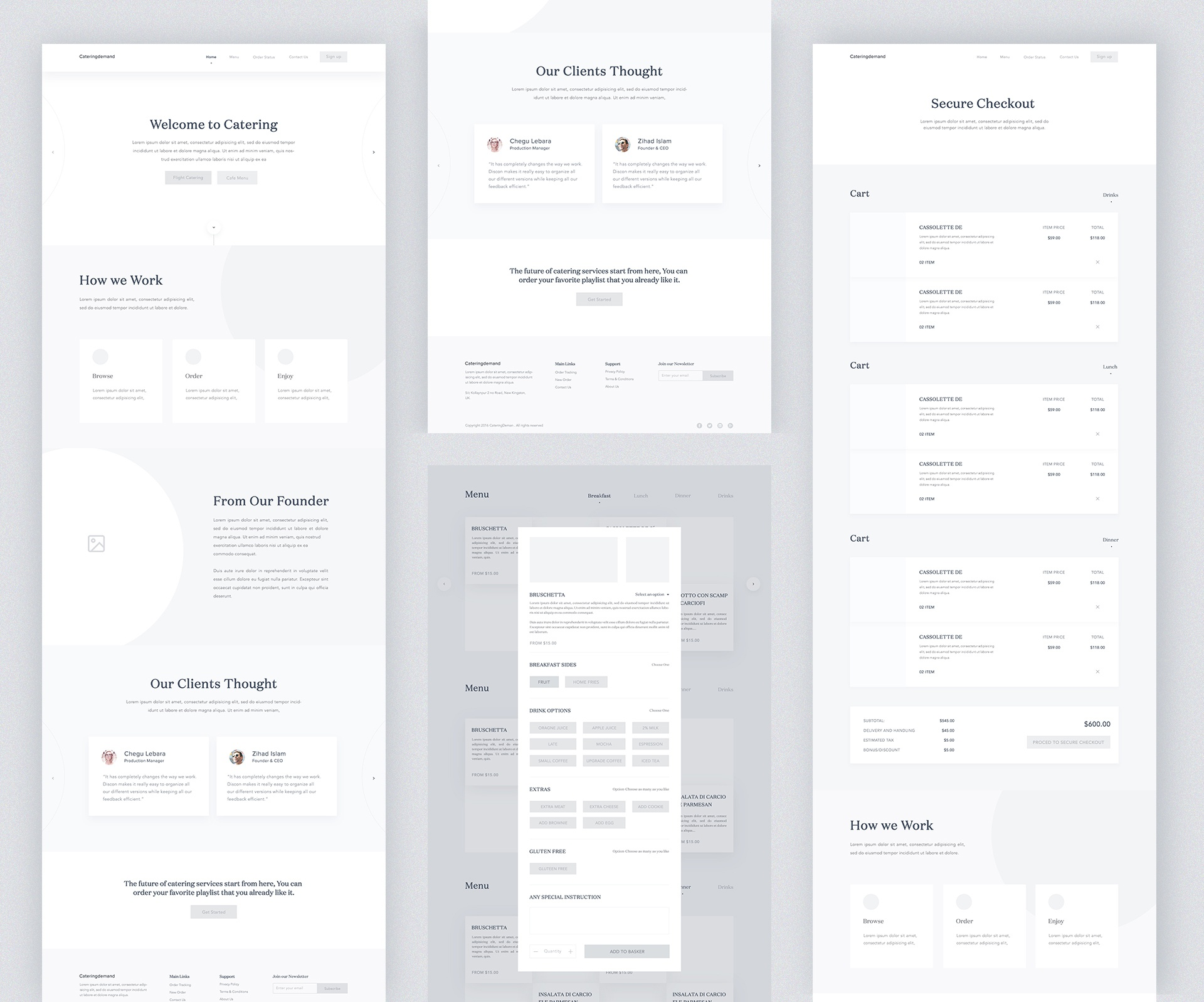 Catering demand High Fiderally Wireframe by Masudur Rahman on Dribbble
