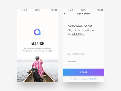Login Splash Screen Allure App earning graph video call messenger ios-app login screen social app