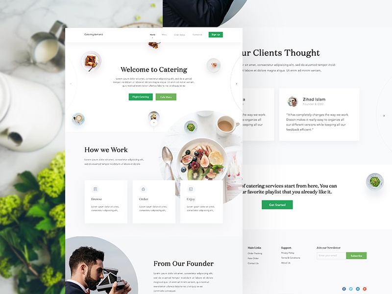 Catering Homepage Design wood web typography texture sketch site navigation menu food flight design button