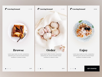 Onboarding - Catering Demand restaurant home ux ui catering food product onboarding mobile cards app