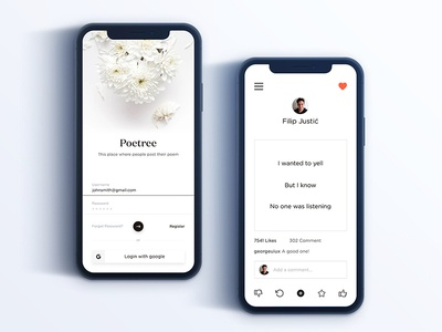 Poetree Apps Exploration iphone x app profile room poetry app poetree x iphone ios poem in log feed dashboard cards