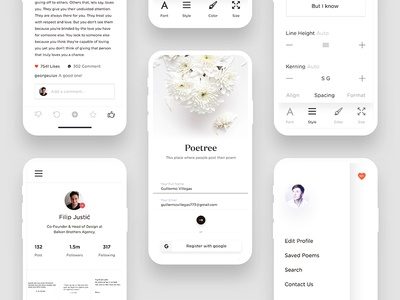 Poetry Apps Design Exploration iphone x app poetry app room profile poetree poem log iphone ios in feed dashboard cards