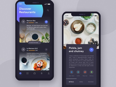 Restaurants App Exploration Dark UI iphone x app review restaurant photo x iphone ios food detail comment card burger app