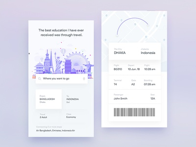 Ui Design Exploration For Flight iOS App ux ui travel ticket pass ios info flights boarding ar app