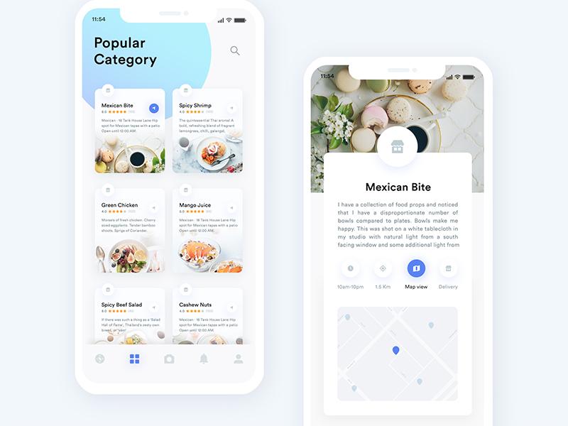 Restaurants App Exploration - 02 food order app iphone x app x review restaurant photo iphone ios food detail comment card burger app
