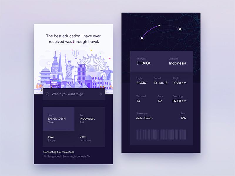 Dark Ui Design Exploration For Flight iOS App app ar boarding flights info ios pass ticket travel ui ux