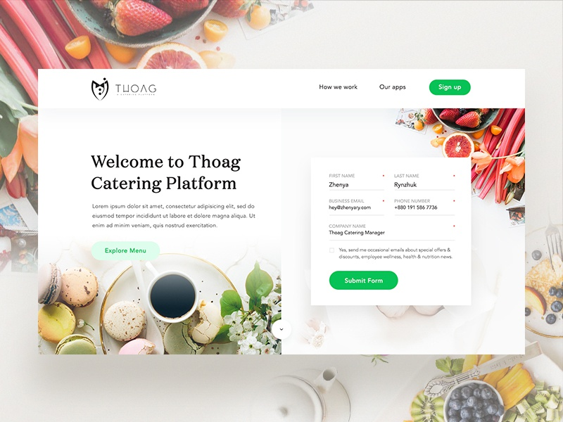 Thoag Catering Homepage Design Exploration - 02 wood typography theme site restaurant navigation menu food flying design catering button
