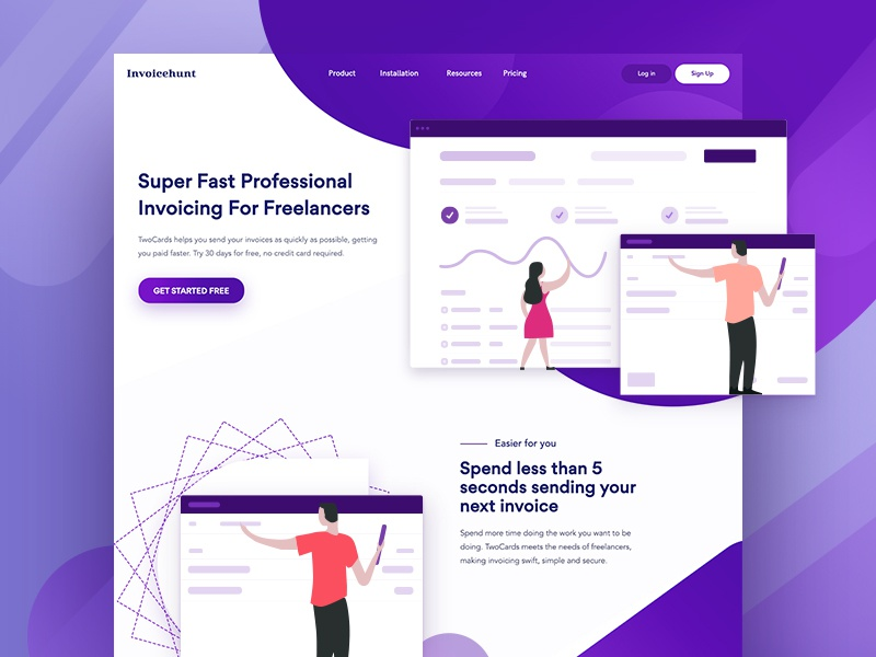 Invoice Landing Page Exploration invoice ux typography layout shop illustration website branding camera ui visual design web minimalist product simple clean landing page