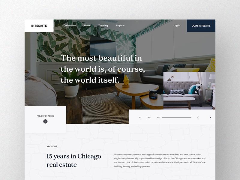 Intesaite Landing Page Concept website web ux user ui estate real property new lander home design experience