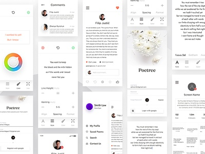 Poetry App iphone x app profile room poetry app poetree x iphone ios poem in log feed dashboard cards