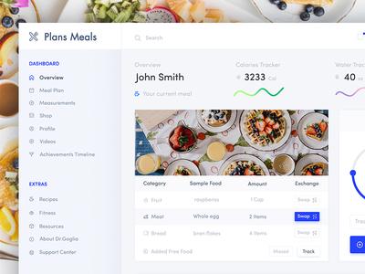 Meal Plan Web App Design health care health app fitness tracker health health dashboard white ux ui statistics fitness-web-app fitness desktop dashboard charts bright