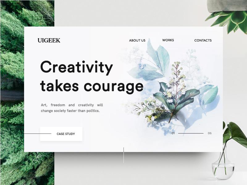 Creativity take courage webdesign web simple profile portfolio minimal layout human-center design circle-shape bootstrap agency