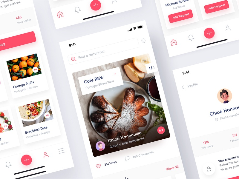 Resto Friends App Exploration - 02 food order app restaurant home recipe app iphone x app social-app restaurant-ui restaurant-profile restaurant-newsfeed my restaurant app restuarant card design food app restuarant-app