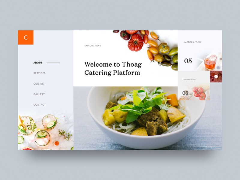 Thoag Catering Homepage Design Exploration - 03 restaurant web restaurant website restaurant home food landing page food-catering webdesign unusual catering layout restaurant design theme catering-homepage restaurant navigation design catering