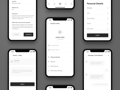 Hero Apps Wireframe - 03 iphone x app app animation arts crafts health app health wellbeing heroes-app high-fidelity household tasks iphone-x minimal navigation bar outdoor adventures skills training wireframe-app wireframe design