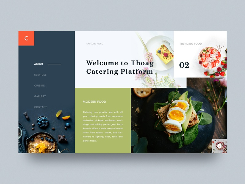 Thoag Catering Homepage Design V - 03 button restaurant web restaurant home food delivery brand hero conceptual-layout theme unusual webdesign restaurant design navigation food-catering catering layout catering-homepage catering