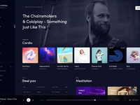 Music ui desktop design dark exploration