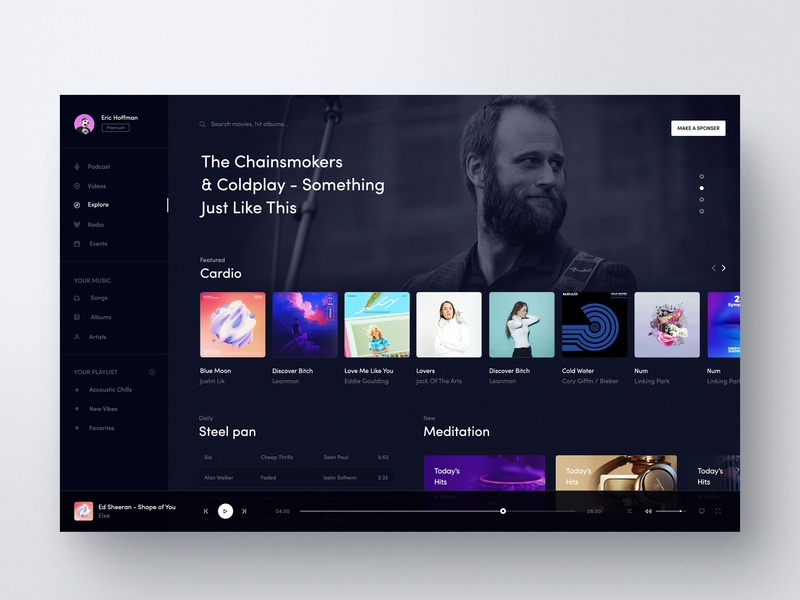 Music UI Design Exploration your playlist your music desktop app new releases popular genres popular album discover-music player radio web client design interface now playing view application ui fluent design desktop fluent music  player