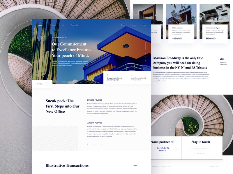 Madison Architecture - 02 portfolio navigation menu web ux ui whitespace website-layout web design unusual typography minimal madison lander home page home-lander grid-layout architechture