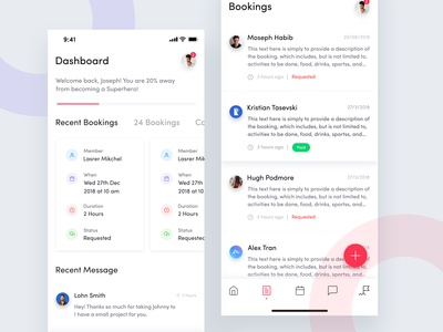 Heroes App Dashboard Screen & Booking Screen