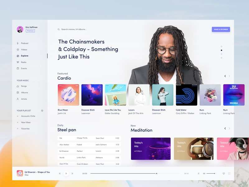 Music Ui Desktop Design minimal app minimal whitespace your playlist your music popular genres web client popular album player radio now playing view new releases music player fluent design fluent discover-music desktop app desktop design interface application ui