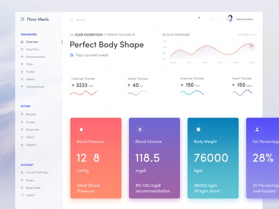 Health Desktop App Exploration health web fitness dashboard meal plan parameter health healthcare app tracker calories fitness app fat percentage body weight blood glucose blood pressure medical healthcare desktop application health app health