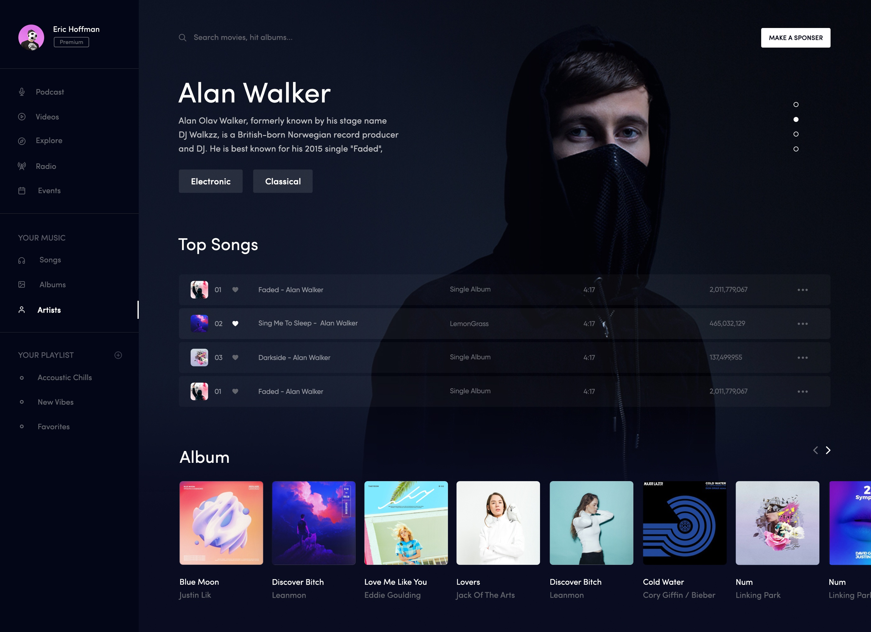 Music ui desktop design artist page