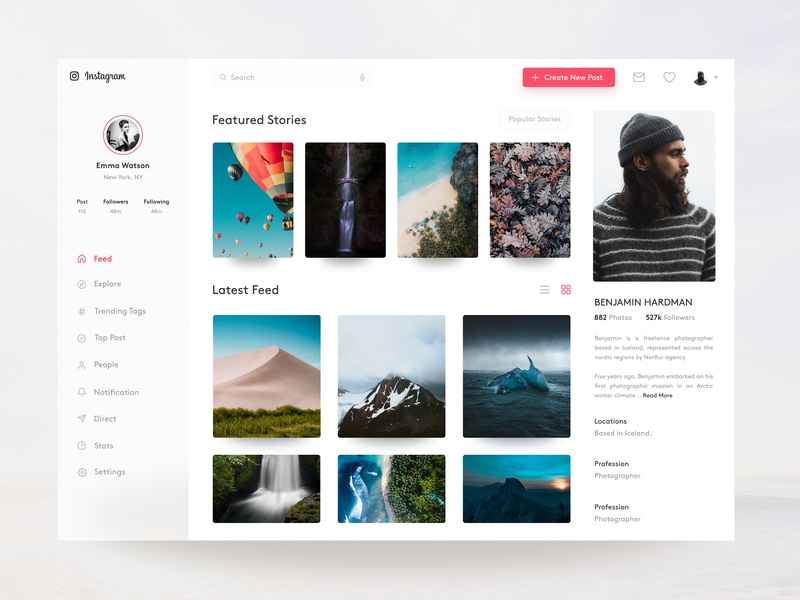 Instagram Profile Concept for Web Freebie stories sidebar instagram feed instagram stories navigation clean app design instagram profile instagram post dashboard clean