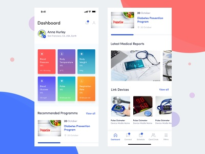 Healthcare Engagement App health app respiration rate blood glucose bodea daniel body weight body temperature charts view graphs glucose weight blood pressure track fitness medical ui iphone appointment medical app doctor app app design app