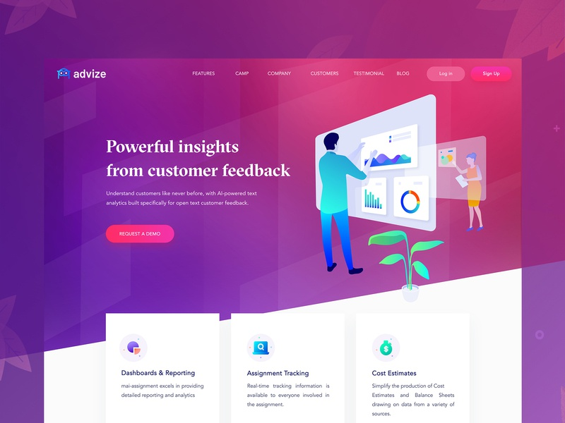 Advise Landing Page Exploration ai tool ai landing page illustratte icon dashboard web minimal illustrated science financial dashboard reporting website vector typography illustration landing page illustration graph hero area hero banner portfolio landing page illustration